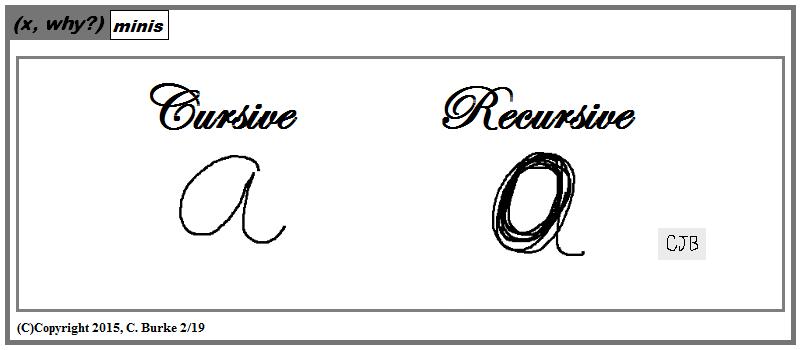 x, why?): (x, why?) Mini: Cursive